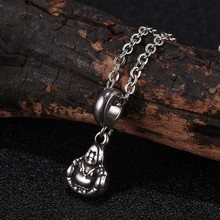 Laughing Buddha Pendant Necklace for Women Stainless Steel Necklaces Unisex Fashion Jewelry 24 inch