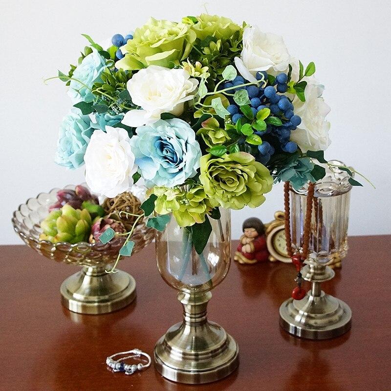 Diseño de hoja grande Hoja Verde decrotive Florero adecuado para Falso Flores O Decoración