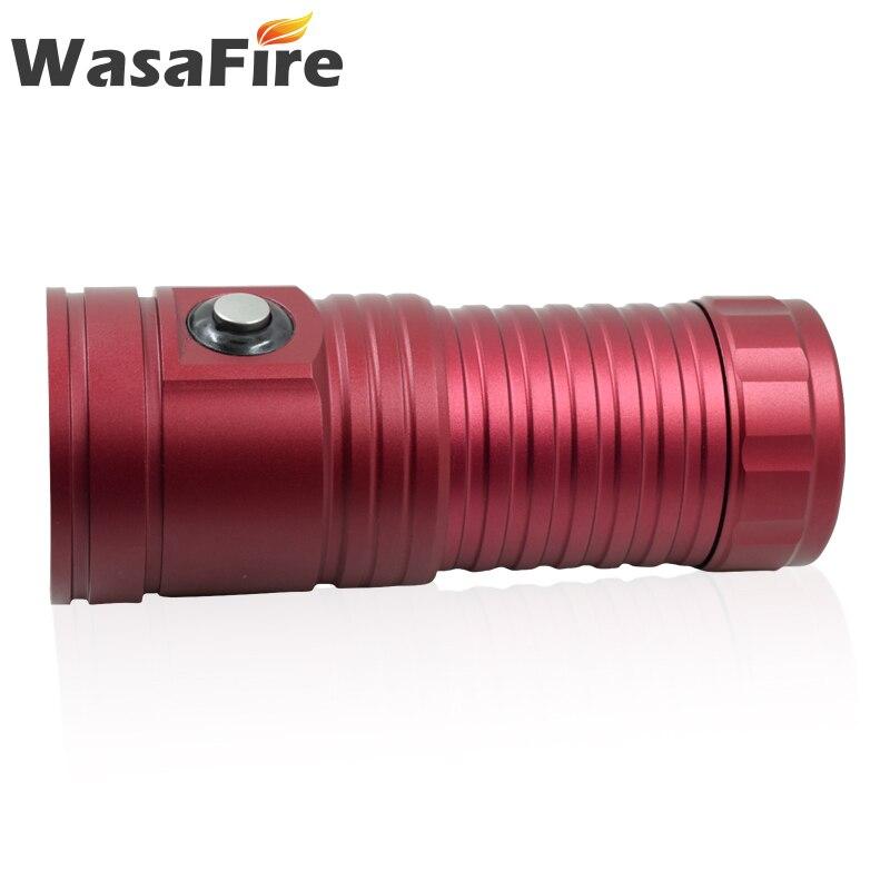 Sous-marin 80M vidéo photographie lumière puissant 4 * L2 + 2 * violet + 2 * lumière rouge torche de plongée multifonction lampe de poche de plongée pour la chasse
