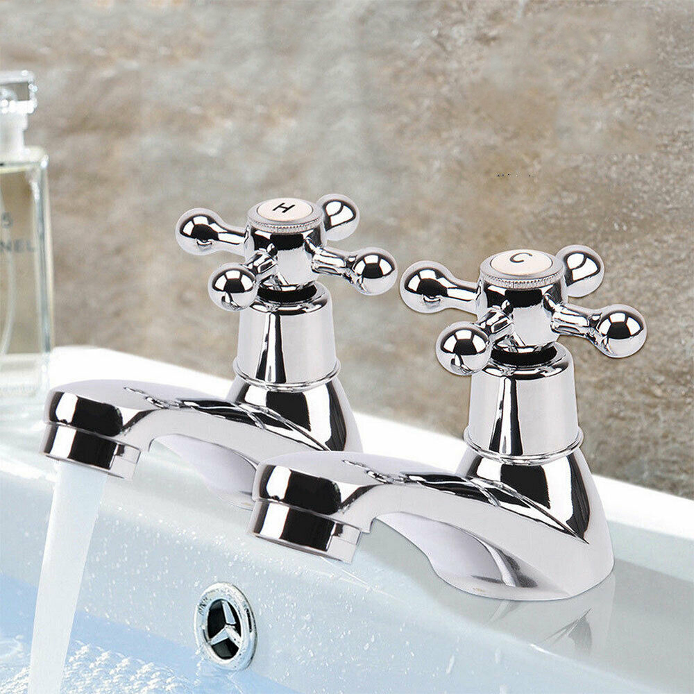 2X Chrome Twin Basin Taps Hot&Cold Water Kitchen Sink Taps Bathroom Water Faucet Mixer Taps Home Improvement Kitchen Accessory