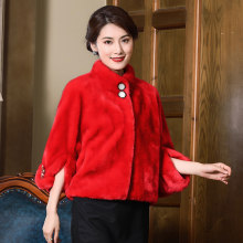 Winter Happy Red Dress Shawl Mink real Fur Grass Thickening Keep Warm Bat Sleeve Cloak Loose Coat Woman womens tops and blouses(China)