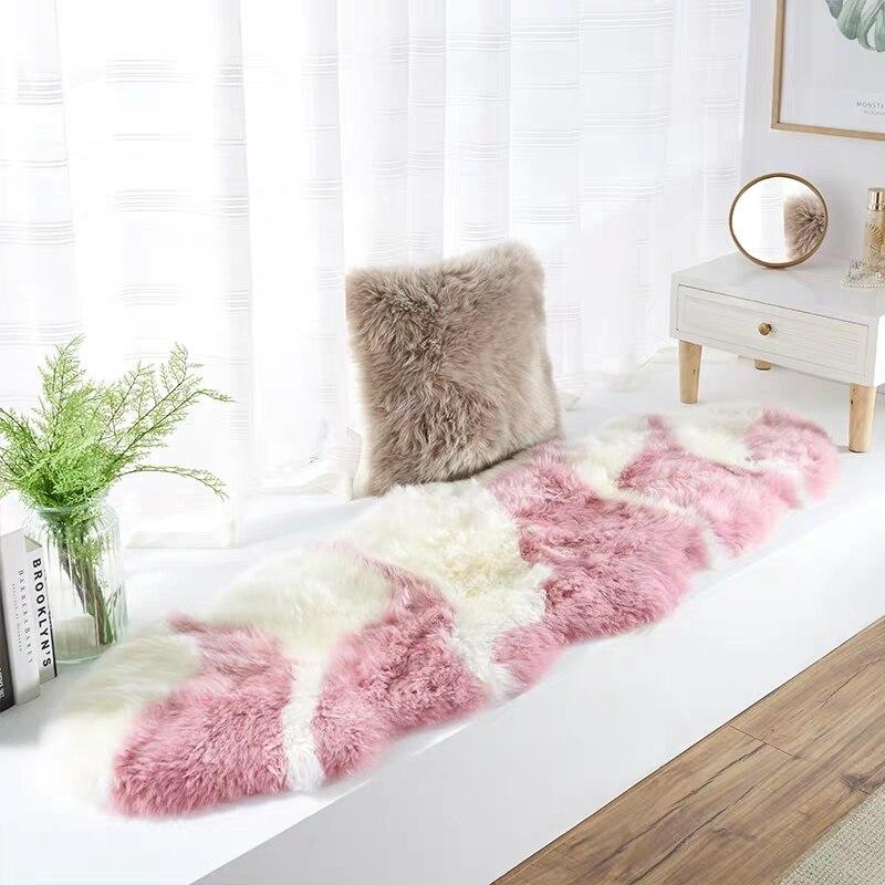 Design Unique rose 2P 60*180cm tapis en peau de mouton de nouvelle-zélande pour tapis de chevet tapis de fourrure de mouton violet clair