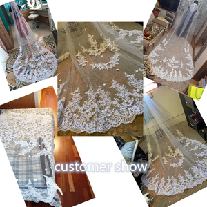 Image 2 - Long Lace Edge Bridal Veil White Ivory Wedding Veils With Comb New Bridal Accessories