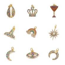 Juya DIY biżuteria akcesoria akcesoria syrenka powłoki korona drzewo Rainbow Crescent Evil Eye Charms dla tworzenia biżuterii