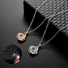 Silver Gold 2019 Fashion Crystal Projection Pendant Necklace For Women 100 Kinds I Love You Language Clavicle Chain Naszyjnik(China)