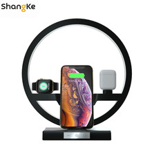 4 in 1 Wireless Charger Bedside Lamp 30W Adapter Wireless Charger Stand for iPhone X Apple Airpods Watch 5 4 3 2 1 Fast Charger
