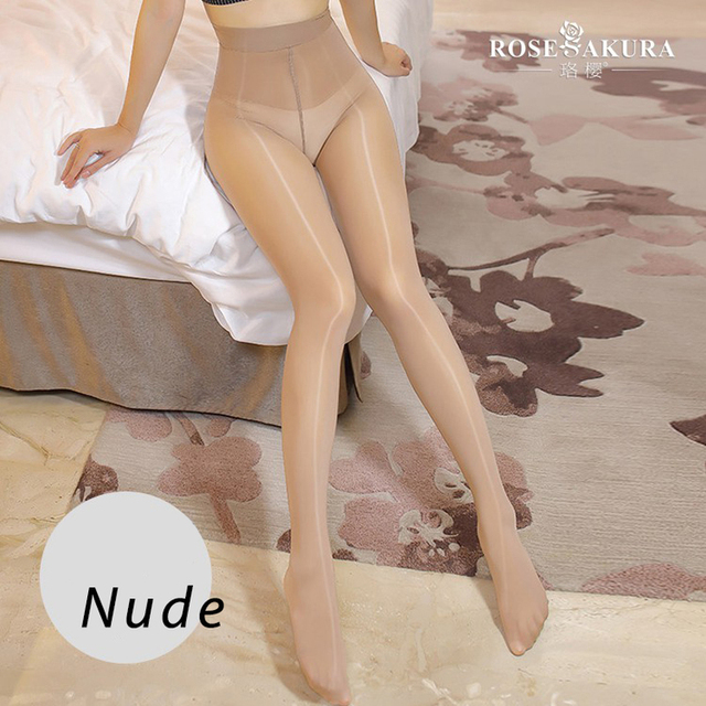SAROOSY 2020 New Sexy Oil Shiny One Line Crotch Stockings for Women Smooth High Waist See Through Super Elastic Pantyhose 3