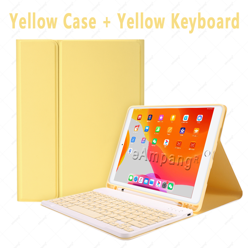 Yellow no Mouse Yellow Keyboard Case With Wireless Mouse For iPad Air 4 10 9 2020 4th Generation A2324 A2072
