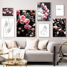 Line Girl Hand Peony Rose Flower Wall Art Canvas Painting Nordic Posters And Prints Abstract Pictures For Living Room Decor