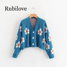 Rubilove Fashion Winter Sweaters Cute Light Green Symbol Life Spring with Flower Print Women Tops Christmas