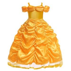 Image 3 - Vestidos bella de la bella y la bestia para niña, disfraz de princesa, disfraces de Cosplay, vestido de Bella de Disney, ropa de fiesta de boda y cumpleaños
