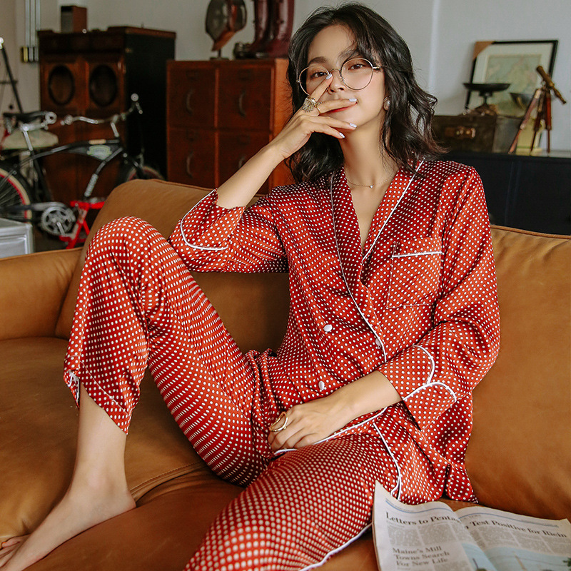 Red Polka Dot Pajamas Set For Women High Quality Long Sleeve Coat+pants Two Piece Home Clothes Autumn Female Nightwear Sleepwear