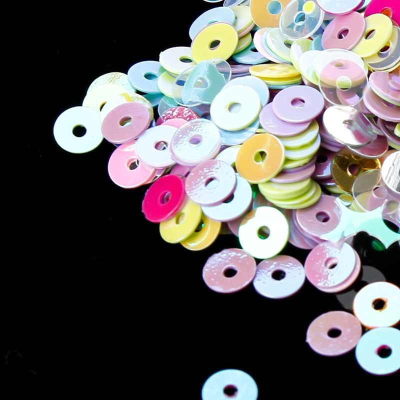 4 Mm Flat Putaran PVC Longgar Payet Paillette Jahit Kerajinan untuk Pernikahan Dekorasi Garmen Gaun Sepatu Topi DIY Aksesori 1000 buah