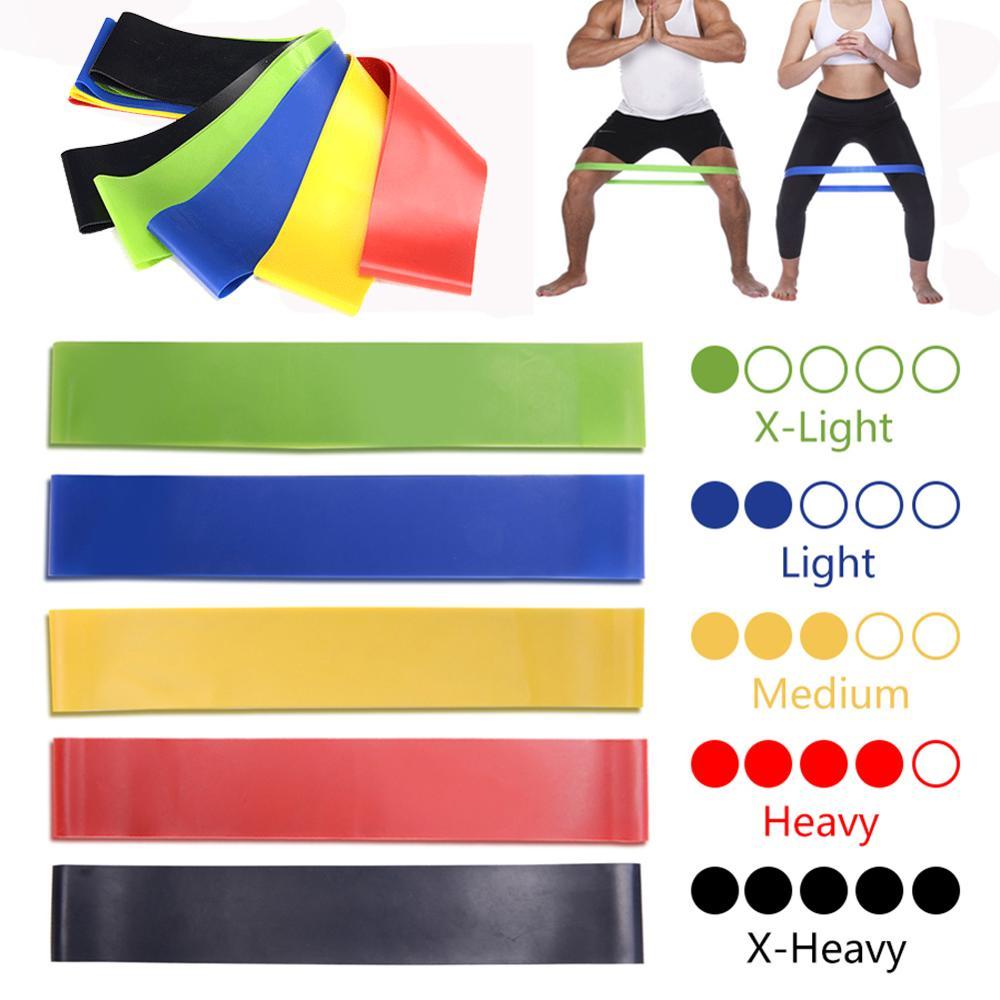 5pcs/set Yoga Resistance Rubber Bands Indoor Outdoor Fitness Equipment 0.35mm-1.1mm Pilates Sport Training Workout Elastic Bands