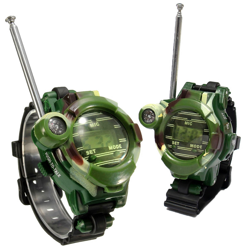 [Funny] 2Pcs/set Outdoor Walkie Camouflage Interphone Watch Toy Family Play Game Electric Intercom Strong Range Clock Toy Gift