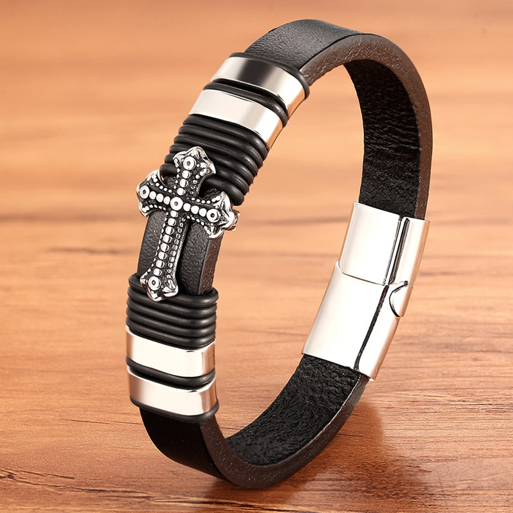 TYO Cross Pattern Stainless Steel Black Color Genuine Leather Bracelet Merge Bangle Accessories Jewelry For Men