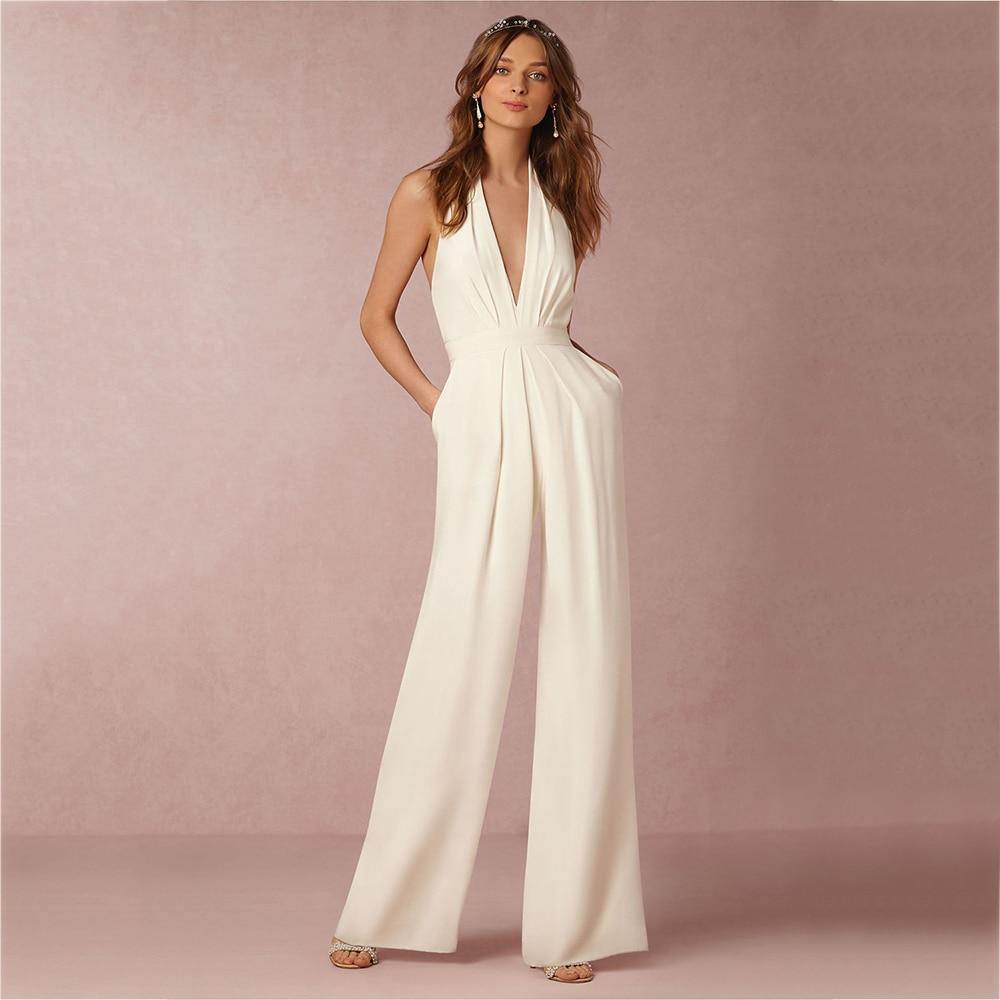 Sexy Halter Neck Women White Jumpsuits Plus Size Elegant Open Back Sleeveless Pockets Long Rompers Female Black Autumn Playsuits