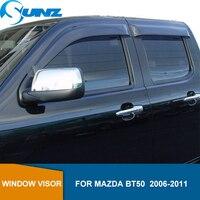 Side Window Deflectors For Mazda Bt50 2006 2007 2008 2009 2010 2011 Black Window Shields Sun Rain Deflector Guards SUNZ
