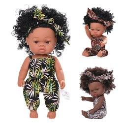 Черные Детские куклы поп Африканский реборн на все тело силиконовые виниловые игрушки 35 см детская игрушка для новорожденных Bebe реборн Мал...