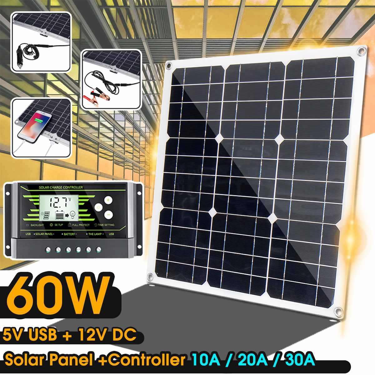 60 Вт солнечная панель 12 В/5 В двойной USB + 10/20/30A двойной USB контроллер солнечной панели и т. Д. Для автомобиля яхты RV огни зарядки