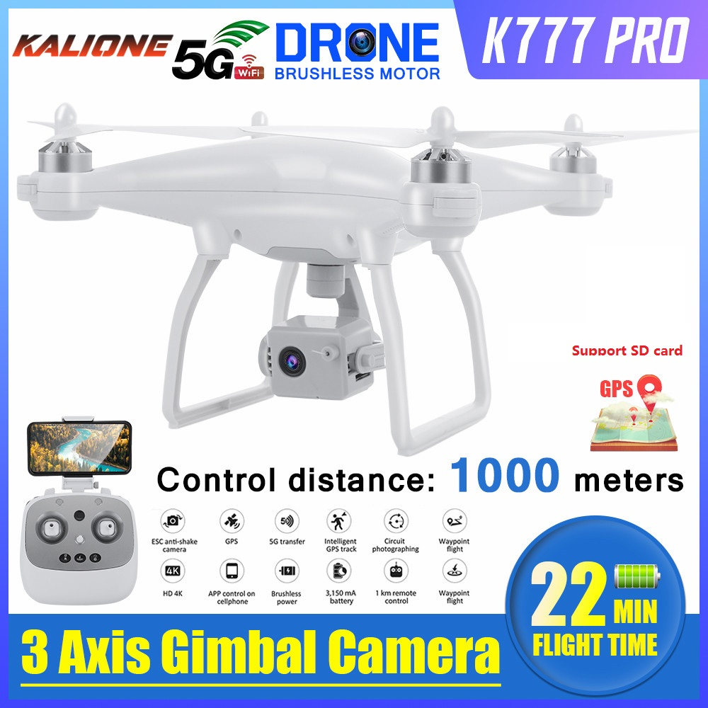 2020 Newest K777 PRO Drone 3 Axis Gimbal Camera HD 4K GPS 5G WiFi Profissional Brushless RC Quadcopter 1KM 22mins Drones VS X35