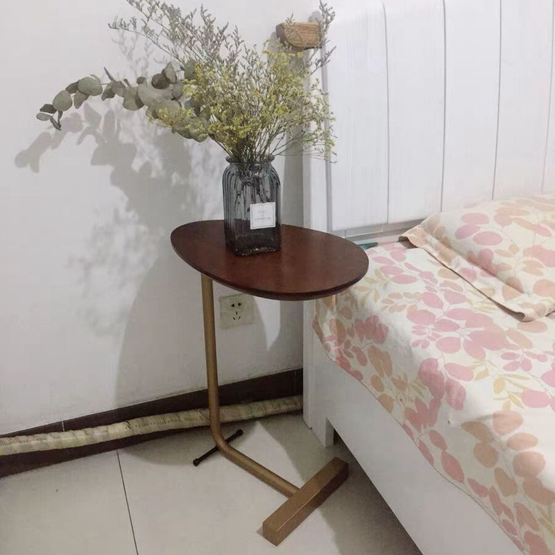 Nordic Real Wood Small Tea Table Is Contracted And Contemporary Bedroom Bedside Table, Wrought Iron Oval Mini Corner Sofa A Few