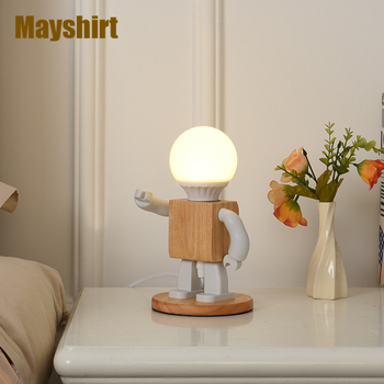 Modern Wood Robot LED Table Lamps Nordic Bedroom Living Room Decor Bedside Desk Lamp Holiday Gift Children's Room Light Fixtures