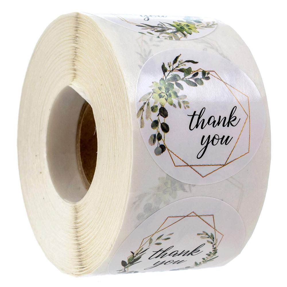4 Designs Greenery Frames Thank You Stickers Seal Labels For Package Decoration Party Wedding Labels School Stationery Sticker