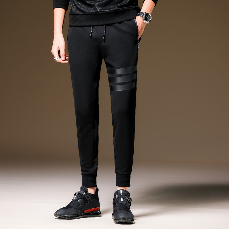 Casual Sports Pants Men's 2019 Spring And Autumn New Style Trend Korean-style Beam Leg Skinny Slim Fit Fashion Pants Men Lace-up