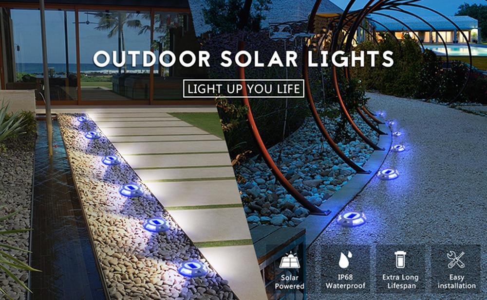 Luzes solares do convés da escada do jardim do diodo emissor de luz luzes à  prova dwaterproof água em terra da lâmpada caminho de entrada quintal doca  marcadores de estrada solar parafuso