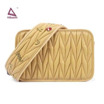 Hiboom Sheep Leather Handbags Metal Decorative Wide Strap Shoulder Bag Sheepskin Embroidery Messenger Bag Wide Shoulder Strap