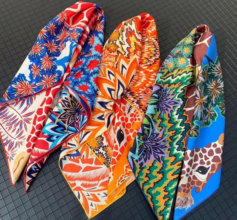 2020 New Arrival Fashion  Brand Classic Giraffe 100% Silk Scarf 90*90 Cm Square Shawl Twill Wrap For Women Lady  Free Shipping