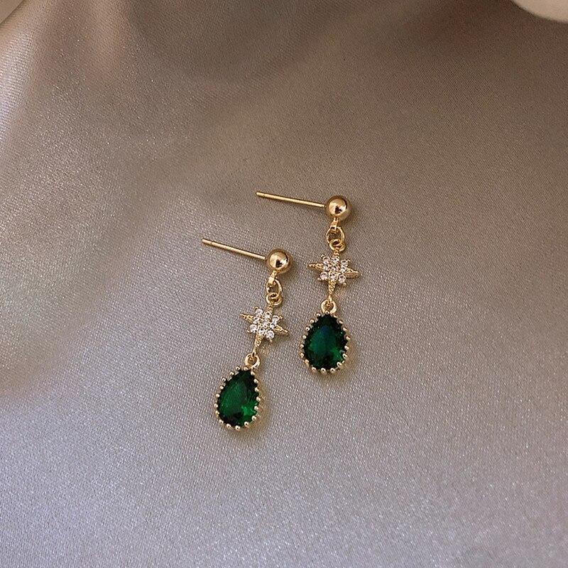 Brincos geométricos femininos, brincos pendurados de cor verde, retrô, elegantes, acessórios para presente, joias elegantes, novo, 2019