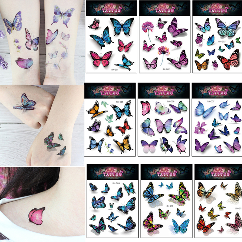 2Pcs/Set Butterfly 3D Temporary Tattoo Sticker For Women Girls Body Art Flash Tattoo Stickers 10.5x15cm Waterproof Tatoo Sticker