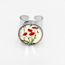 initial/Fashion New Hot Charm Poppy Pendant Red Poppies Glass Snap Rings Couples Open