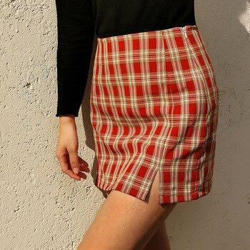 цена на 2020 Fashion Plaid Split Skirt Woman Simple High Waist Slim Mini Skirt Ladies Casual Bag Hip Plus Size Ladies Skirt Women V911