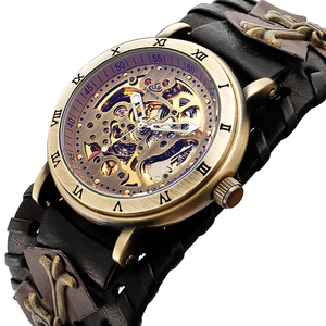 Image 3 - レトロブロンズスケルトン自動機械式時計男性ゴシックスチームパンク自動巻腕時計ユニークなレザー時計リロイ Hombre