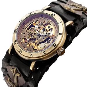 Image 3 - רטרו ברונזה שלד אוטומטי מכאני שעון גברים גותי Steampunk עצמי מתפתל שעוני יד ייחודי עור שעונים Reloj Hombre