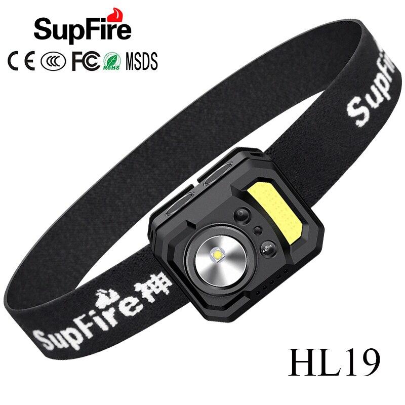 Supfire HL19 LED Headlamp EDC Headlight COB Light 1000lm Fishing Camp Flashlight Head Lamp Type-C USB Head Light Lampe Torche
