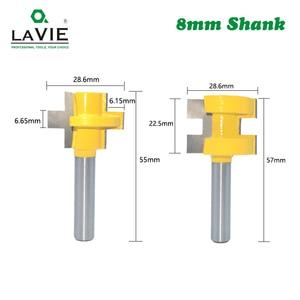 Image 2 - LA VIE 2pcs 8MM Shank T חריץ כיכר שן שגם כרסום קאטר גילוף סכין נתב Bits עבור עץ כלי נגרות MC02140