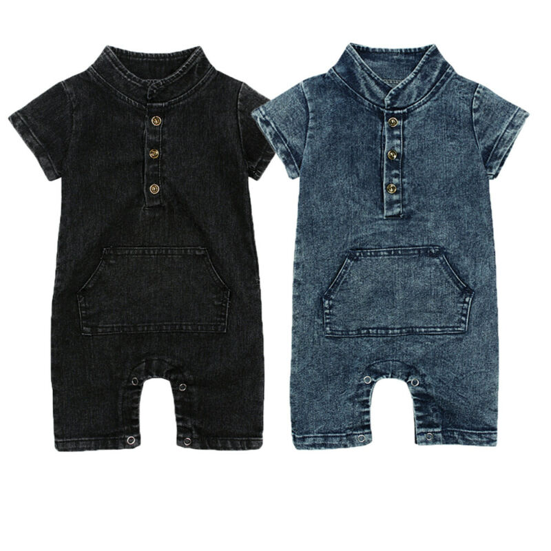 Summer Infants Toddler Baby Boys Romper One Piece Cute Denim Buttons Jumpsuit Outfits Clothes