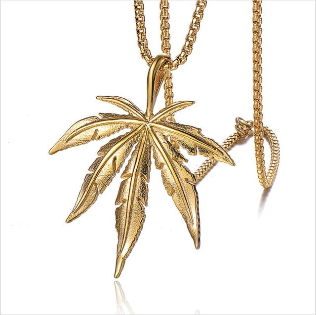 Men Hip hop maple leaf pendant necklaces Stainless Steel never fade Fashion vintage pendants necklace Hiphop jewelry gifts