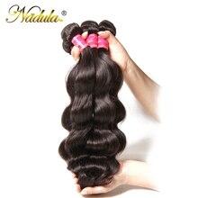 Игрока Nadula волос бразильские человеческие волосы волнистые человеческие волосы ткет 3 шт./4 PCS Бразильские Волосы Волнистые пряди Волосы remy 8-30 дюймов натуральный Цвет