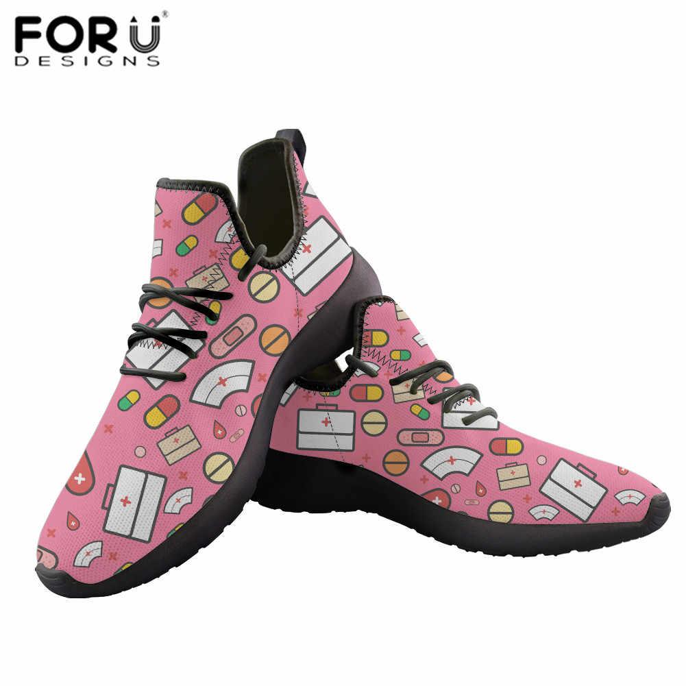 Forudesigns Nữ Giày Nữ Dễ Thương Y Tá Tình Yêu Mẫu In Hình Femme Bằng Giản Mùa Hè Phối Ren Nữ Giày Zapatos De Mujer 2020