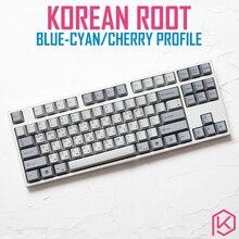 Kprepublic fuente de Corea de raíz coreana 139, perfil de letra de cereza, tinte azul cian, Sub Keycap, PBT gh60 xd60 xd84 tada68 87 104