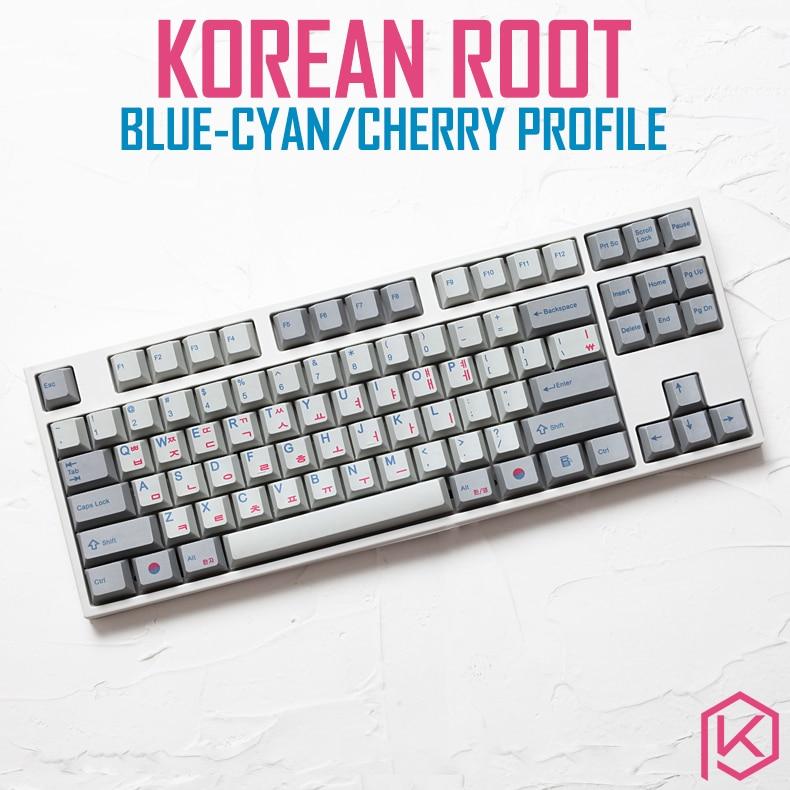 Kprepublic 139 Korea Korean Root Font Language Letter Cherry Profile Blue Cyan Dye Sub Keycap PBT Gh60 Xd60 Xd84 Tada68 87 104