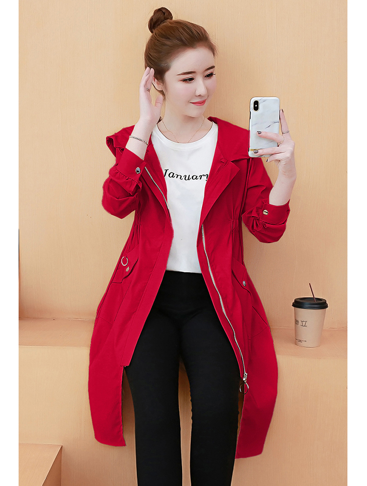 #3566 Long Coat Women Loose Windbreaker Jacket Women Split Casual Thin Jacket With Hood For Women Loose Fashion Korean Style 13