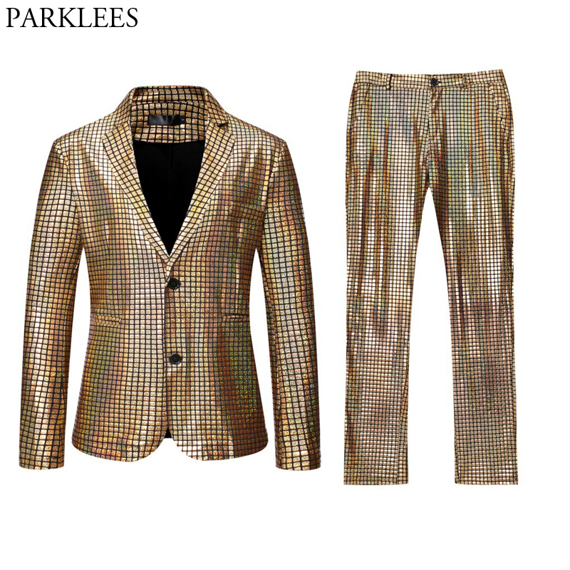 Shiny Gold Plaid Sequin Suits Men Prom Dance Prom Suits with Pants Mens Festival Carnival Christmas Halloween Party Stage Outfit