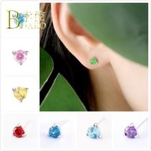 BOAKO Dainty Crystal Zircon Earrings For Women Engagement 925 Sterling Silver Girl Birthday Stone Red Blue B5