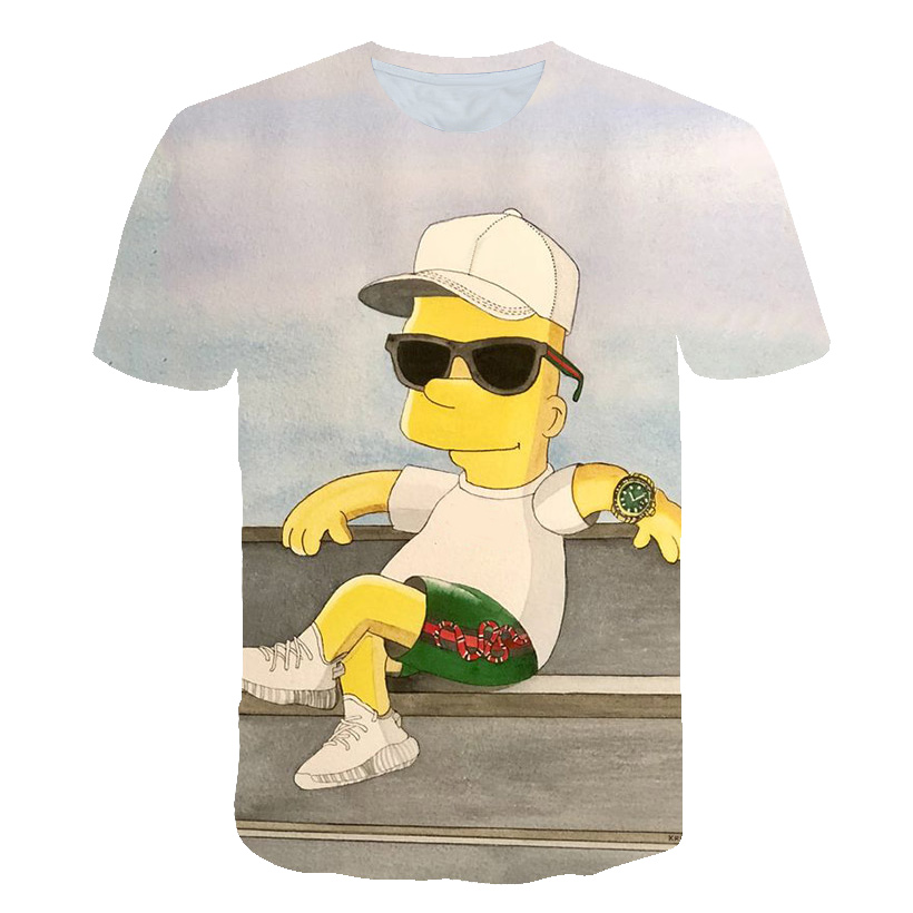2019 new Simpson T-<font><b>shirt</b></font> <font><b>3d</b></font> Anime T <font><b>Shirts</b></font> Funny T <font><b>Shirts</b></font> Chinese Printed Mens Tee Male Clothing <font><b>Sexy</b></font> Tops Hip Hop image